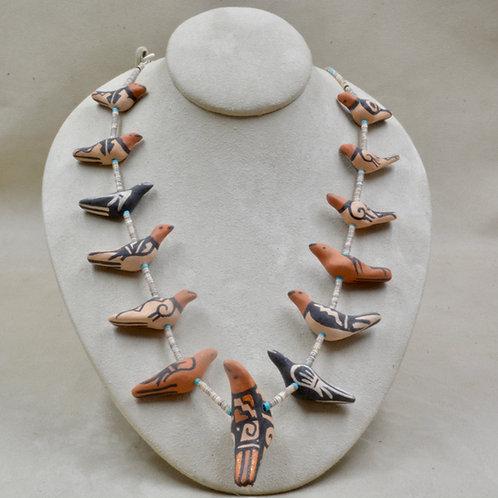 Handmade Pottery Bird Necklace by Robert Tenorio