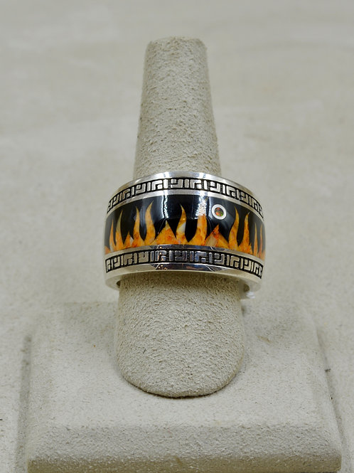 Flame 12.5x Ring w/ S. Silver w/ Black Jade, Opal, Spiny Oyster by GL Miller