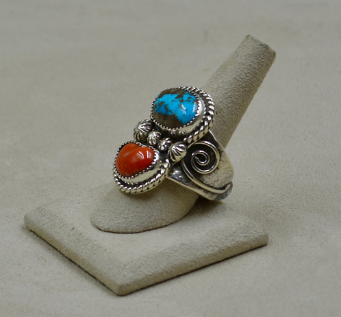 Bisbee Turquoise & Medium Coral Sterling Silver 11.5x Ring by James Saunders
