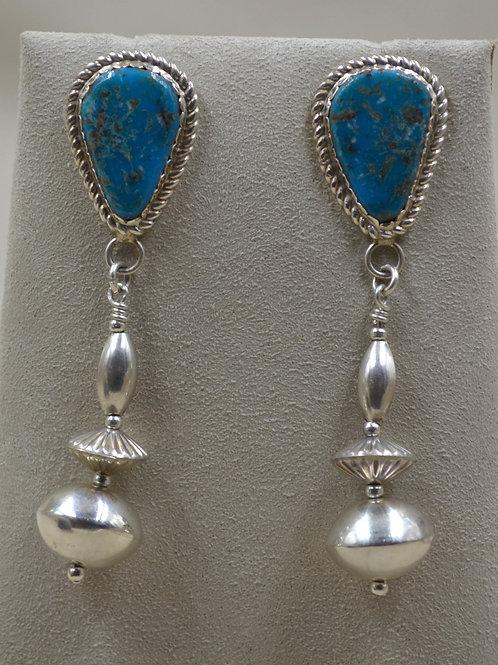S. Silver Post Kingman Turquoise w/ Handmade SS Beads Earrings by Ca'Win