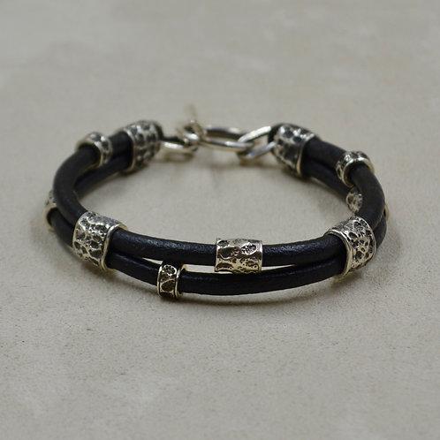 Men's Sterling Silver & Leather Bracelet by Reba Engel