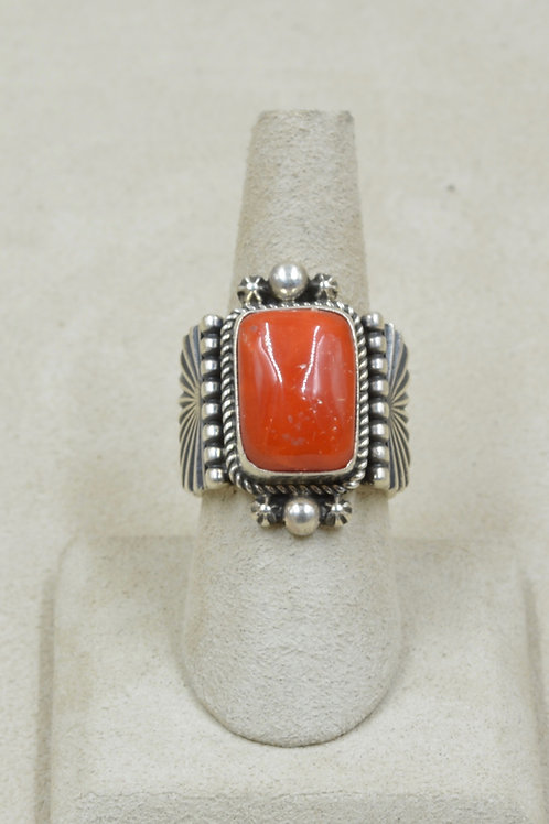 Sterling Silver & Rectangular Medium Coral 8x Ring by Guy Hoskie