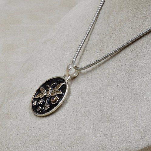 Sterling Silver Dragonfly w/ Rhodolite Pendant by Roulette 18