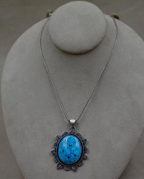 Hi-Grade Birdseye Kingman Sterling Silver Necklace by Michele McMillan