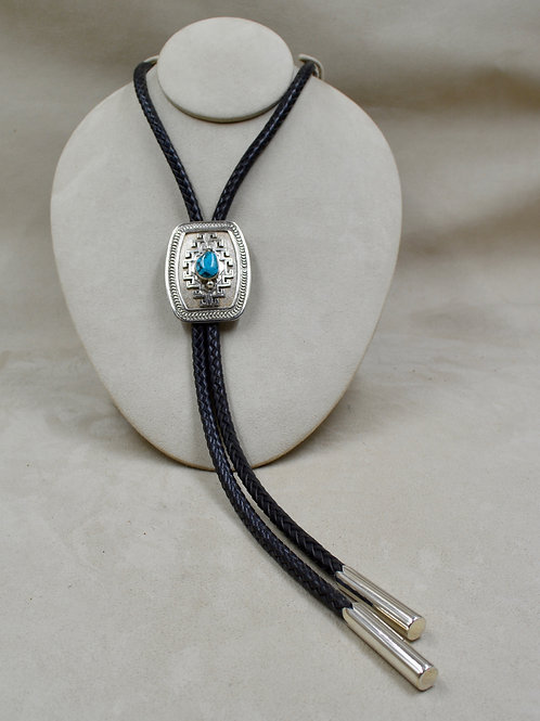 Chinese Turquoise Bolo w/ Hi-Grade Hand Rolled Tips by Jefferson Brown