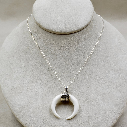 """Sterling Silver Bone Crescent on 18"""" SS Chain by Roulette 18"""