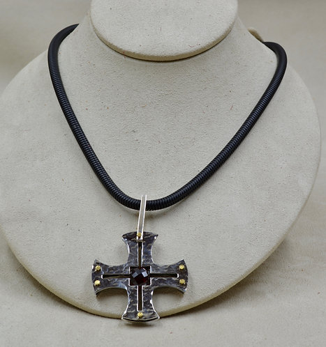 SS Hammered & Etched Cross Pendant w/ Almandine Garnet & Brass by Reba Engel