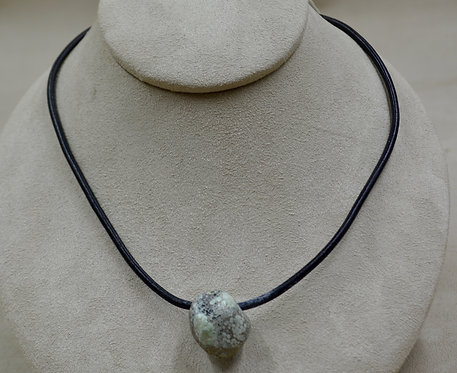 Candelaria Turquoise, Rare Psuedomorph on Leather Necklace by James Saunders