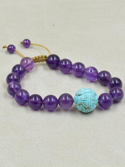 Meditation Bracelet w/ Amethyst & Turquoise Bead Ball by True West