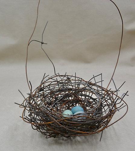 Small Handmade Metal Nest w/ 3 Blue Green Eggs by Phil Lichtenhan