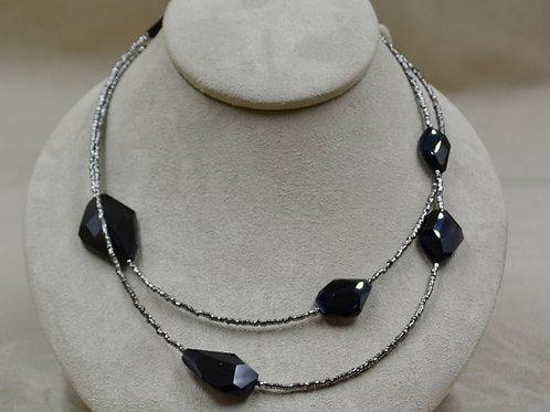 Obsidian, Vintage Steel Bead Necklace w/ Amethyst Clasp by Reba Engel
