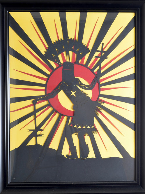 "'Apache Crown Dancer' - Paper Cut - Framed - 27"" x 21"" by - Valerie Rangel"