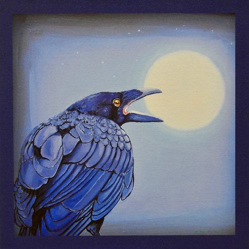 """Moonshine Raven"" Giclee on Canvas - 20"" x 20"" - by Karen Clarkson"