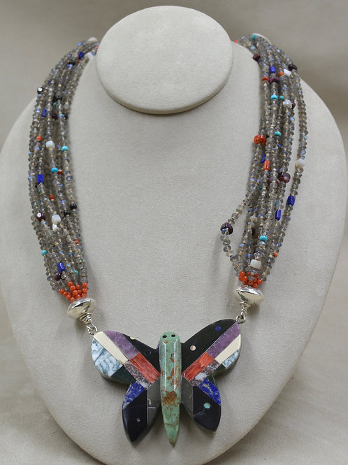 Butterfly Inlay Beaded Necklace by Santiago Jimbo