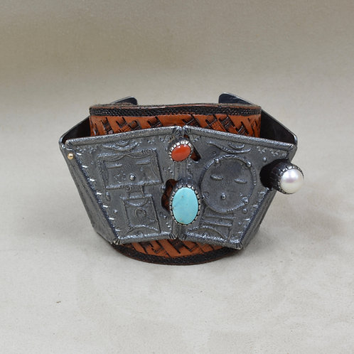 14k Gold,Pearl, Nat. Kingman Turquoise, Coral, Leather, Yei Cuff by Fritz Casuse