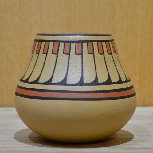 Medium Feather Design Pot - San Ildefonso Pueblo - by Cavan Gonzales
