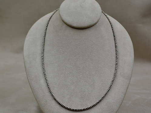 "Navajo Pearls Sterling Silver 3mm Oxidized Beads 24"" Necklace"