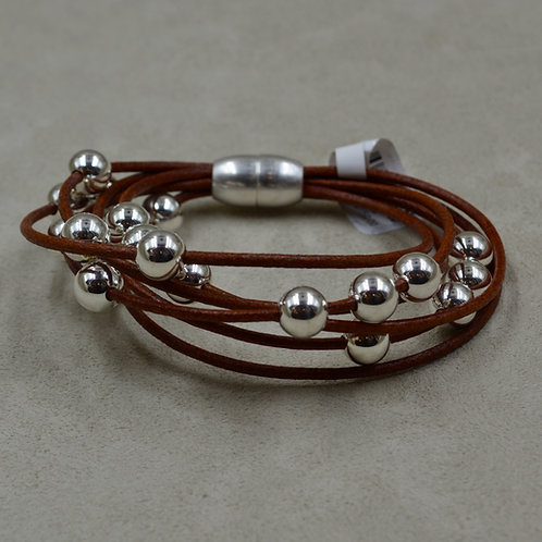 Brown Multi-Strand Sterling Silver Beaded Bracelet by Sippecan Designs