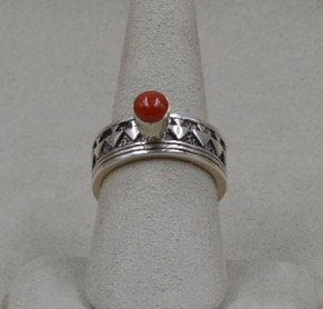 Sterling Silver & Coral Arrow Ring 7.5X by Michael & Melanie Lente