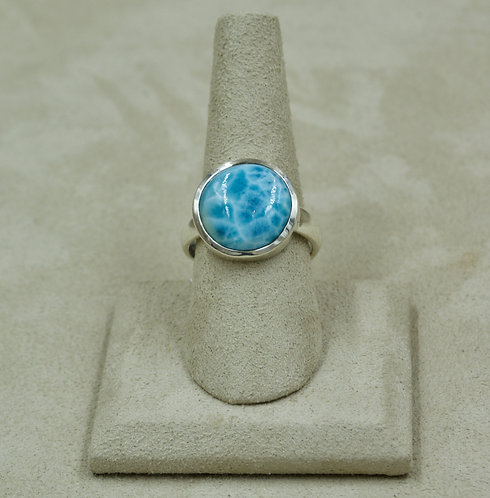Small Round Larimar & Sterling Silver Adj. to 9x Ring by Sanchi & Filia