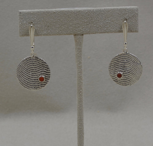 Medium Sterling Silver with Coral Earrings by Althea Cajero