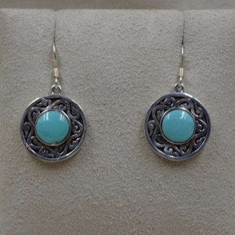 Sterling Silver Turquoise Spirit Medallion Earrings by Lente