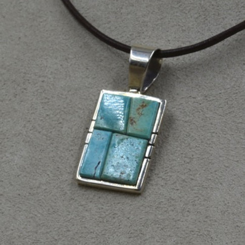 Sterling Silver with Cripple Creek Turquoise Pendant by Dukepoo