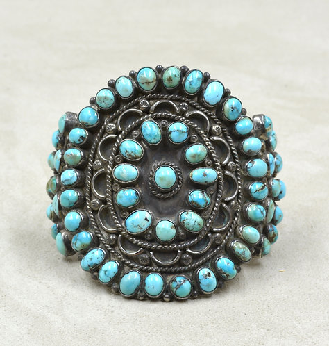 Vintage 40's Cluster 60 Stone Turquoise & Sterling Silver Cuff