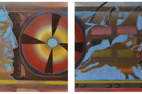 "Diptych - ""Indian Shield/Ledger Horses"" by Farrell Cockrum"