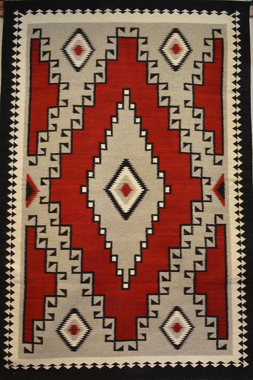 "Ganado - Red, White and Black Zapotec Weaving - 79"" X 54"""