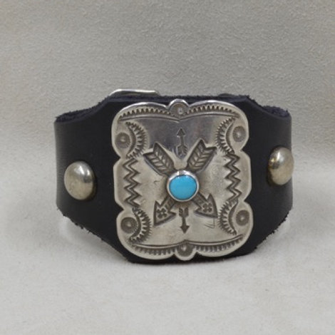 Katoh Sterling Round Studs Silver and Turquoise Crossed Arrows Cuff by Buffalo
