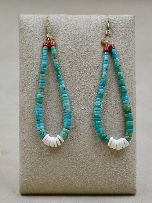 Long Turquoise, Clam Jacla & Coral Wire Earrings by Kenneth Aguilar