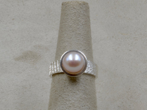 Cuttle Cast Sterling Silver 4.5x Ring w/ Pink Freshwater Pearl by Althe