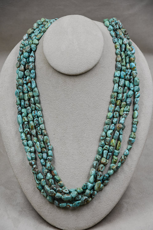 Vintage Royston Turquoise Nuggets 5 Strand, Natural Coral Necklace