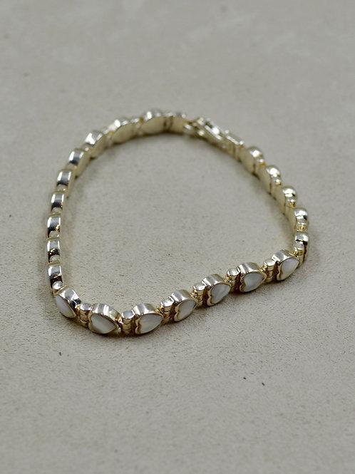 Small Biwa Pearl Hearts Tennis Bracelet by Peyote Bird