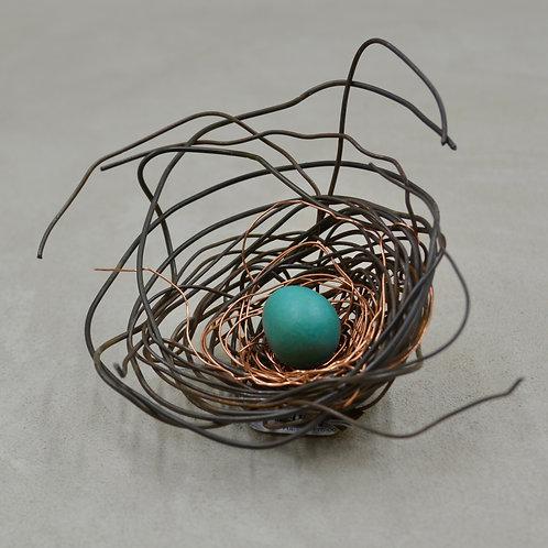 Mini Handmade Metal Nest w/ 1 Turquoise Green Egg by Phil Lichtenhan