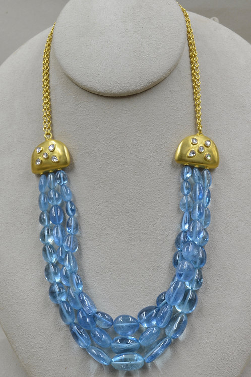 Aqua 337Cts 3 Strand Aquamarine, Diamond & 22k Gold Necklace by Pamela Farland