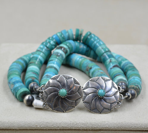 Sterling Silver Conchos w/ Natural Turqouise Bracelet by Maggie Moser