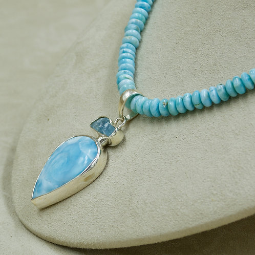 Larimar & Rough Aquamarine Pendant by Sanchi & Filia