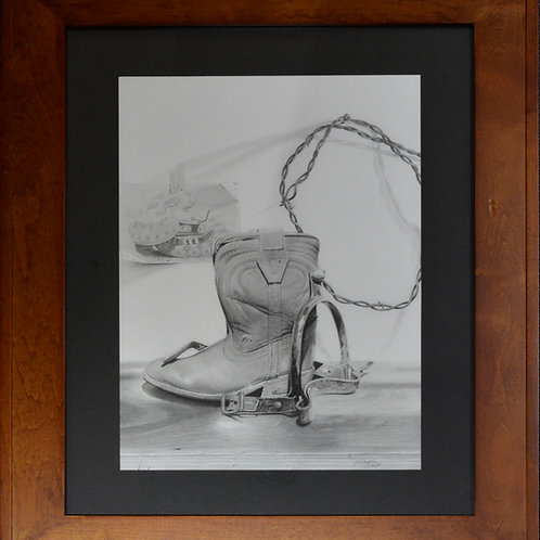 """Another Day at the Office"" Framed Graphite - 29"" x 22.5"" - by Karen Clarkson"