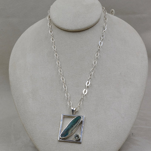 Gem Silica & Green Amethyst Pendant on Chain by Michele McMillan