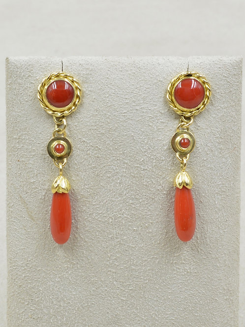 18k Gold Medium Coral Teardrop Post Earrings
