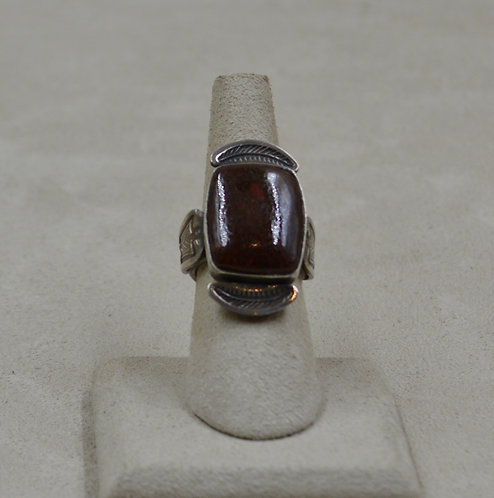 Dinosaur Bone & Oxidized Stamped Sterling Silver 5.75x Ring - Red Rabbit Trading