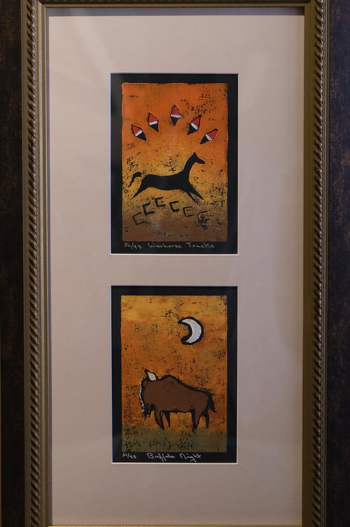 """Double """"Warhorse Tracks"""" 36/45 Framed Hand-Pulled Block Print by Sandy Swallow"""