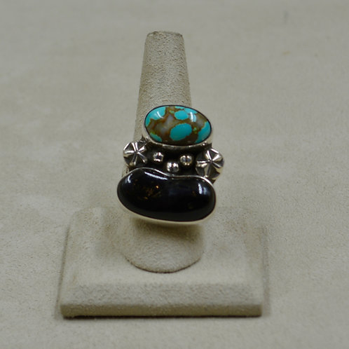Black Coral & #8 Turquoise Sterling Silver Adj. Ring by James Saunders