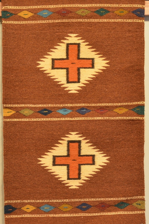 "Zapotec Crosses Fino - No Fringe - 36"" X 24"""