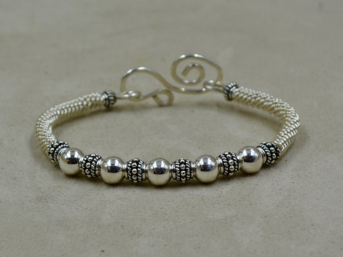S. Silver & 6 Floral Beads Woven Bracelet by Sippecan Designs
