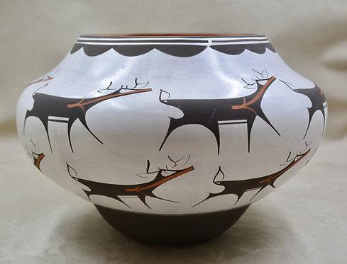 Brown on White Deer Pot by Anderson Peynetsa