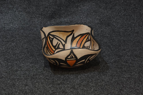 Fish Wave Bowl #1/yellow tails - by Robert Tenorio, Santo Domingo Pueblo