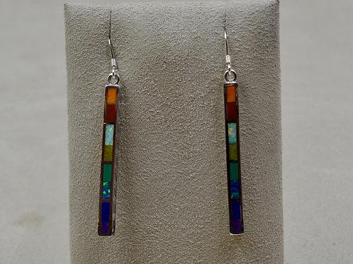 Multi-Stoned & Sterling Silver Medium Dancing Stick Earrings by Lente